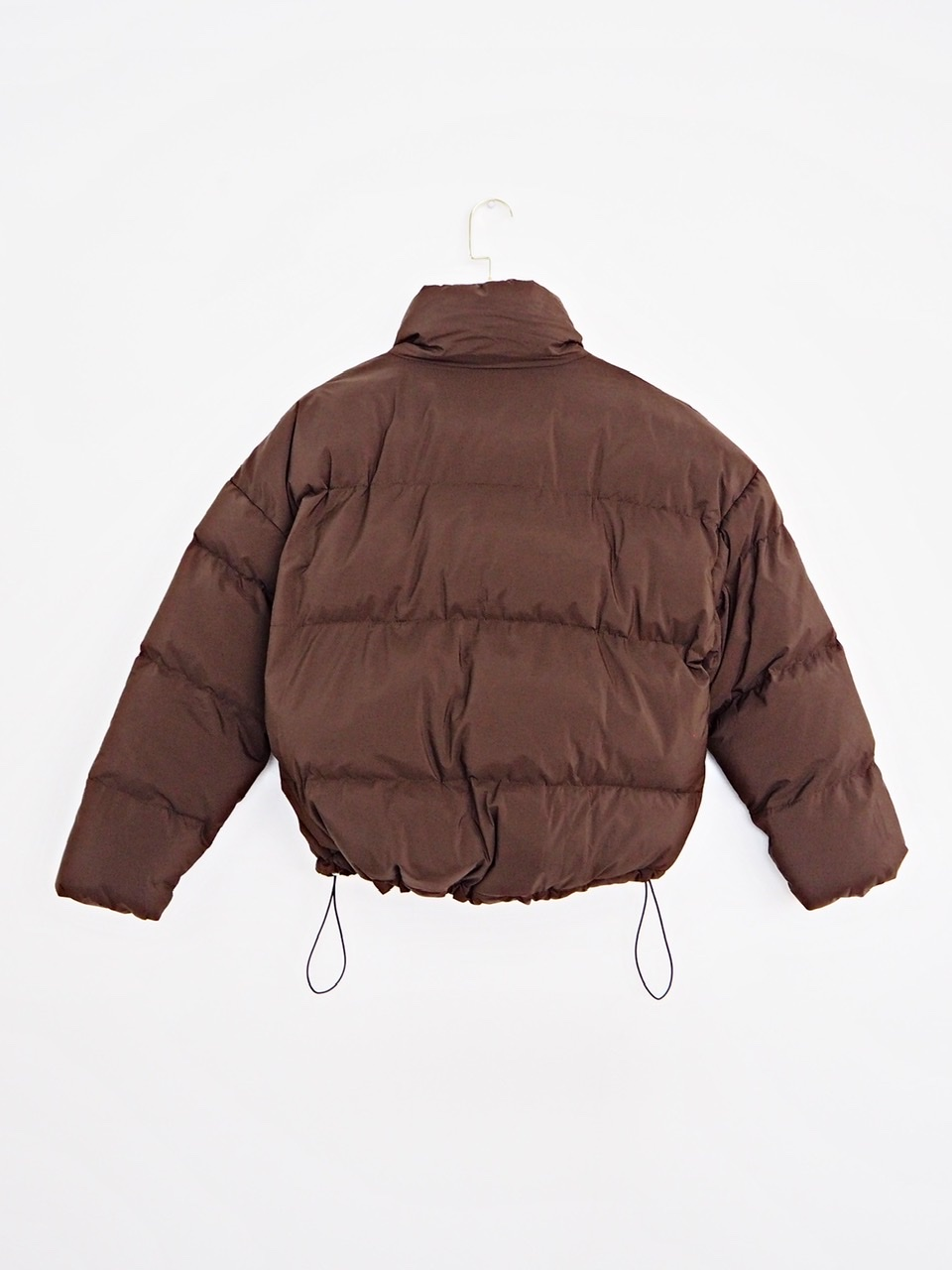 ribbon padding jacket brown