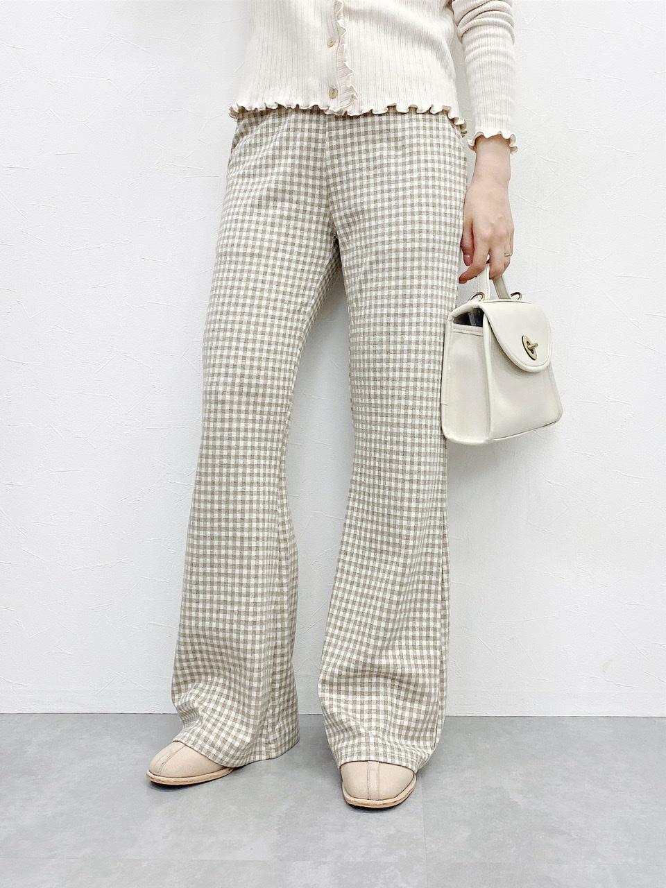 gingham pants beige