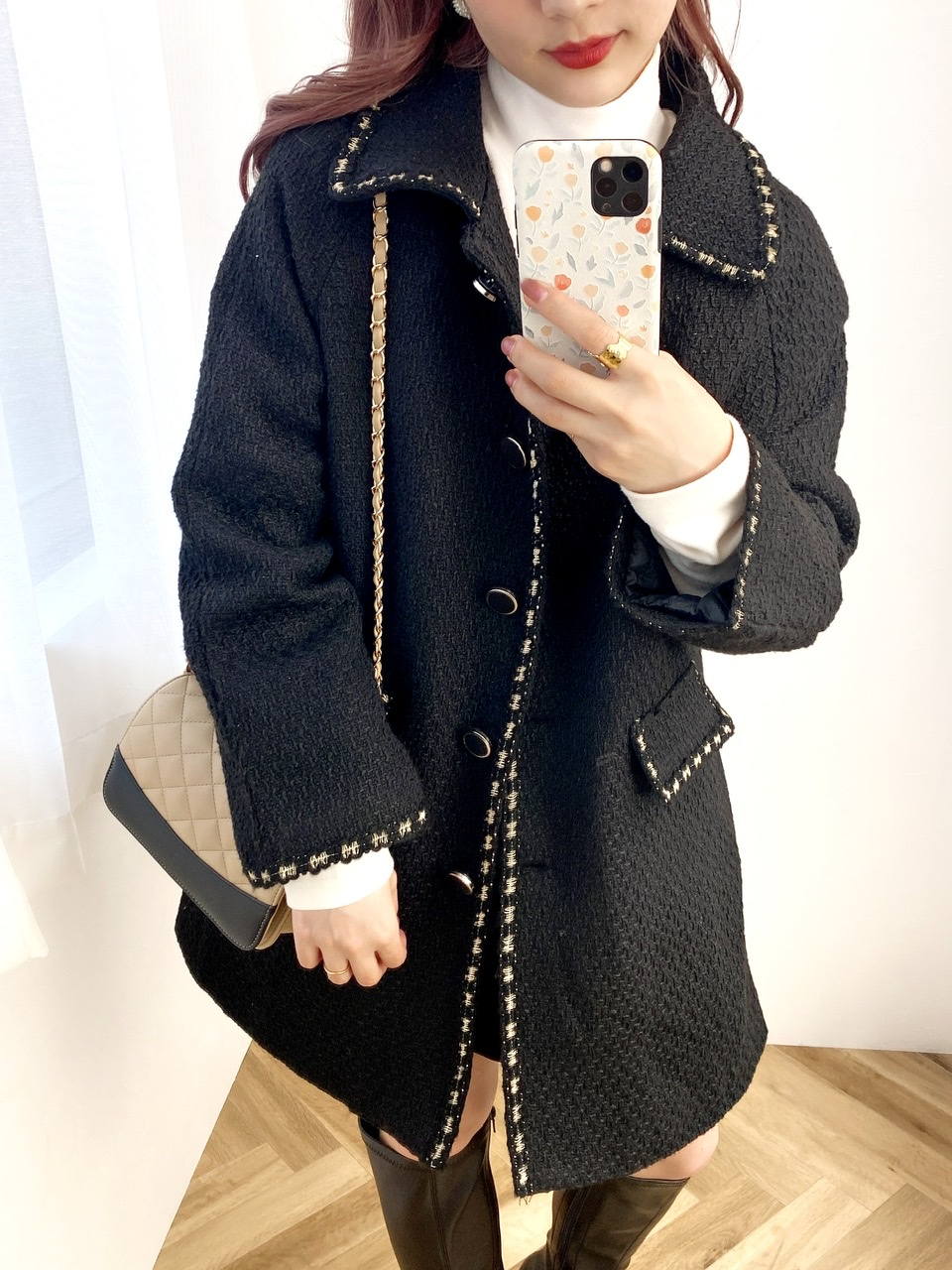 stitch long coat