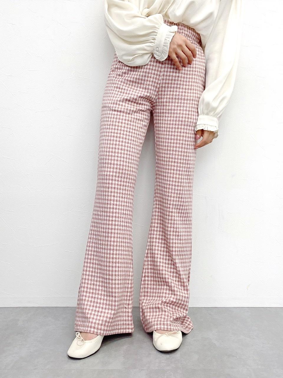 gingham pants pink