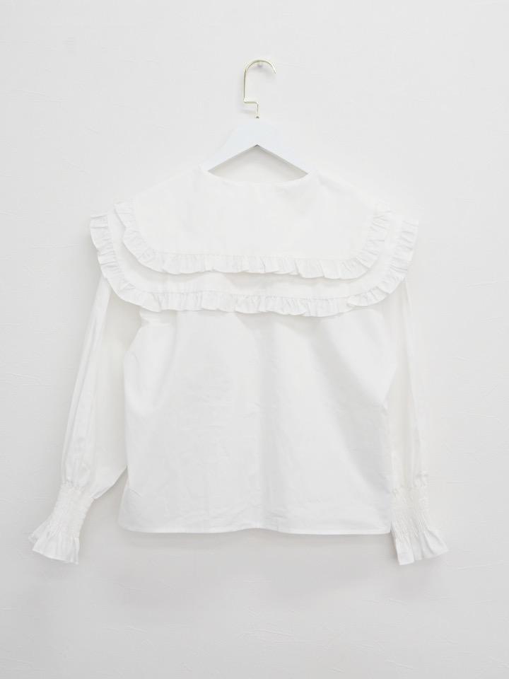 【SALE】ダブルフリルブラウス ホワイト