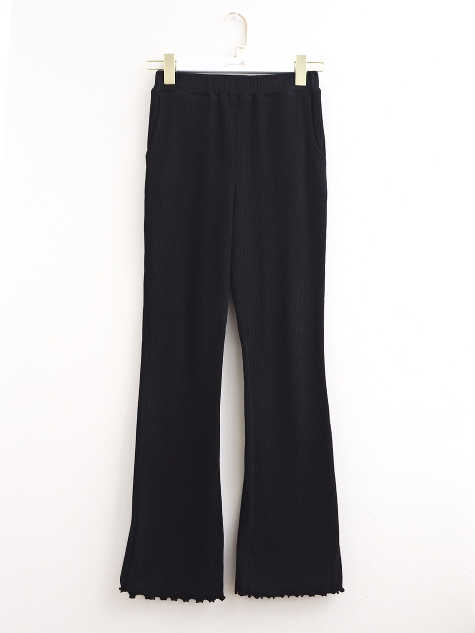 rib pants black