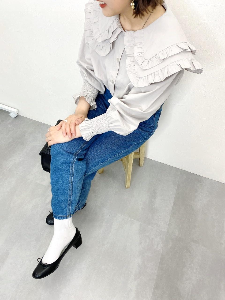 【SALE】ダブルフリルブラウス グレー
