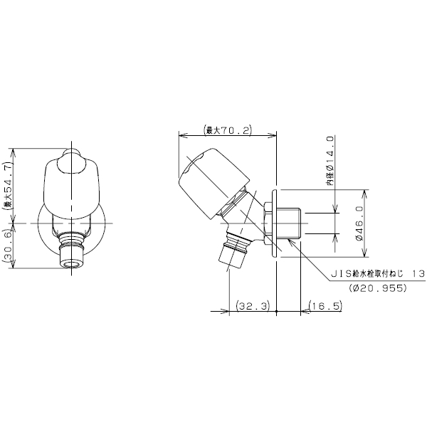 【廃番特価セール】カクダイ 洗濯機用水栓(送り座つき) 一般地用 【品番:721-516-13】■