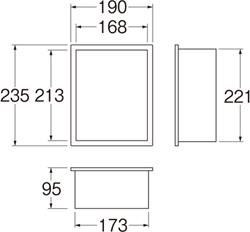 SANEI カギ付散水栓ボックス(壁面用) 【品番:R81-1K-235X190】