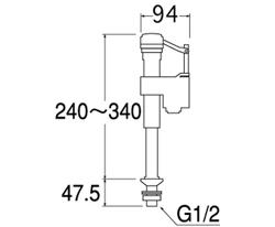 SANEI 万能立形ロータンクボールタップ 【品番:V538-5X-13】■