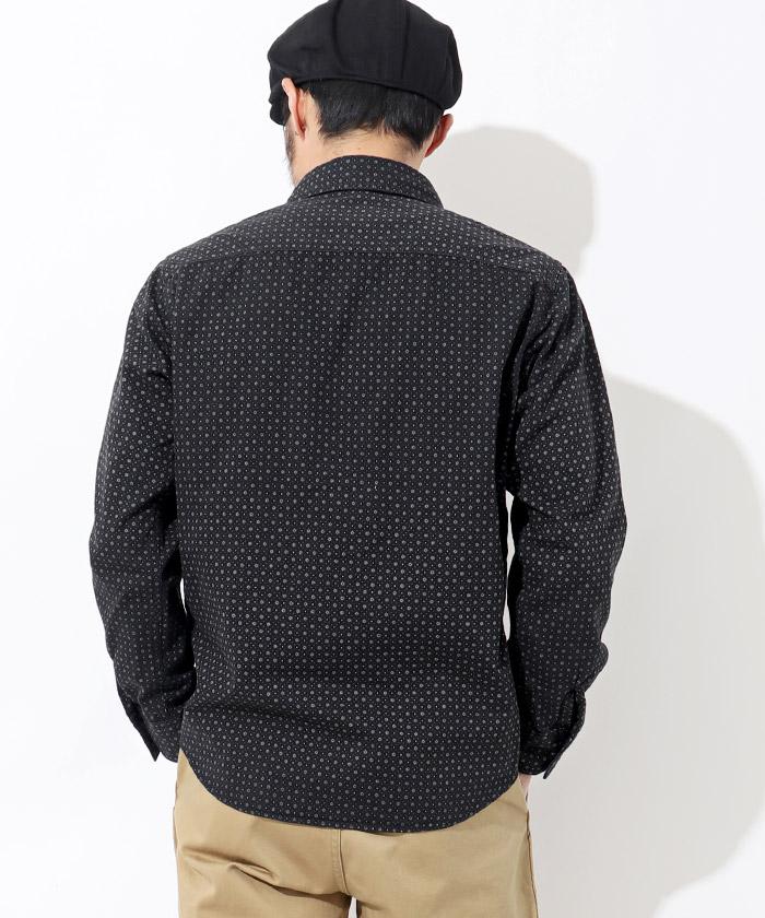 小紋柄ワークシャツ