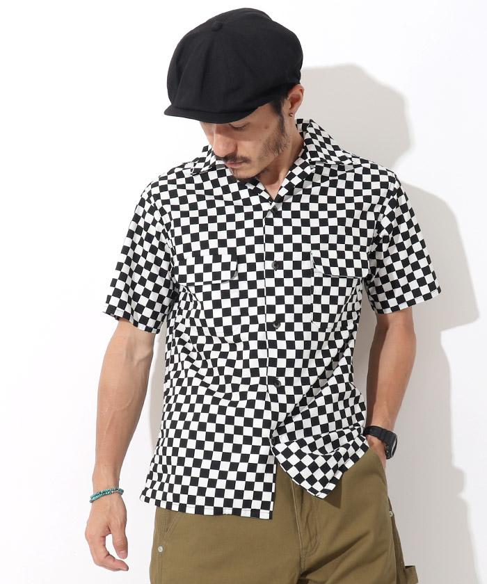 チェッカーフラッグオープンカラーシャツ