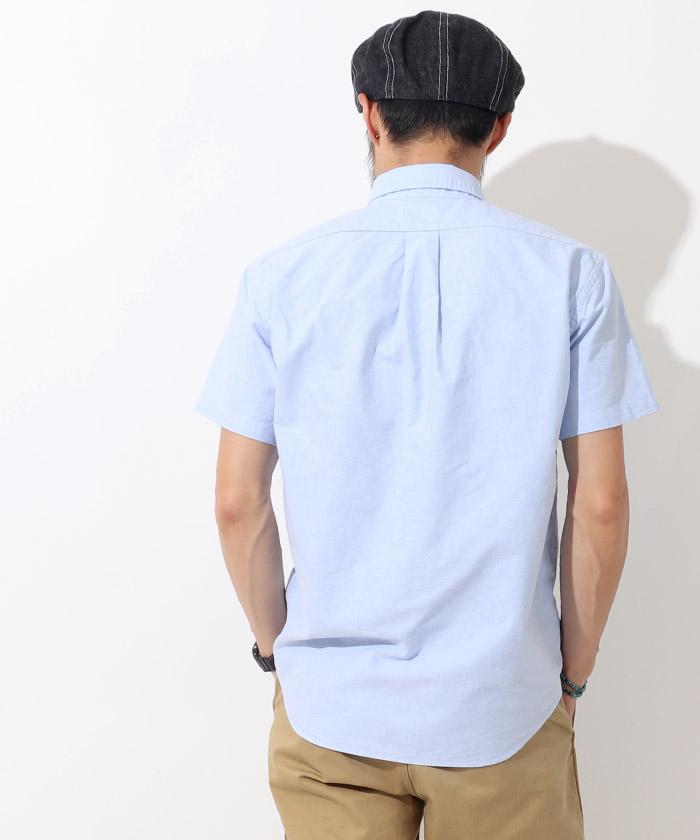 オックスフォードボタンダウン半袖シャツ ブルー