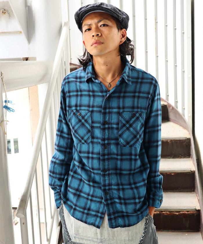 オンブレチェックシャツ ブルー