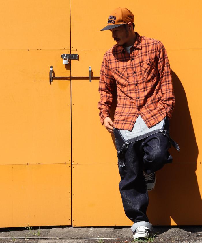 オンブレチェックシャツ オレンジ