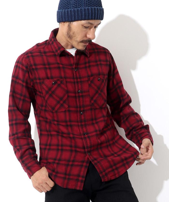 オンブレチェックシャツ レッド