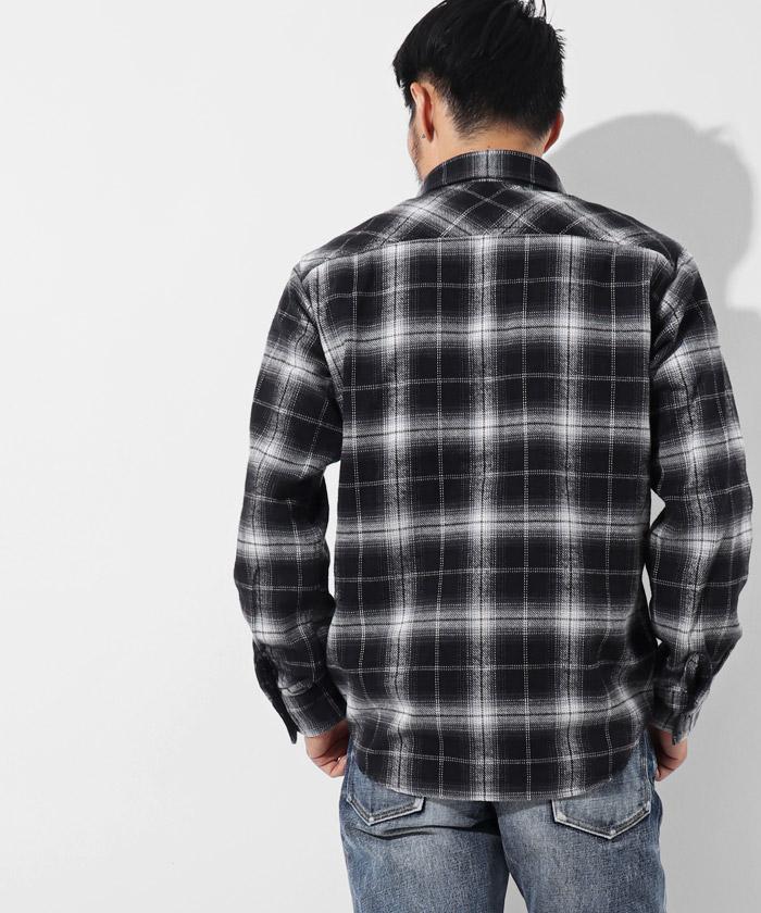 ブラッシュドチェックネルシャツ ブラック