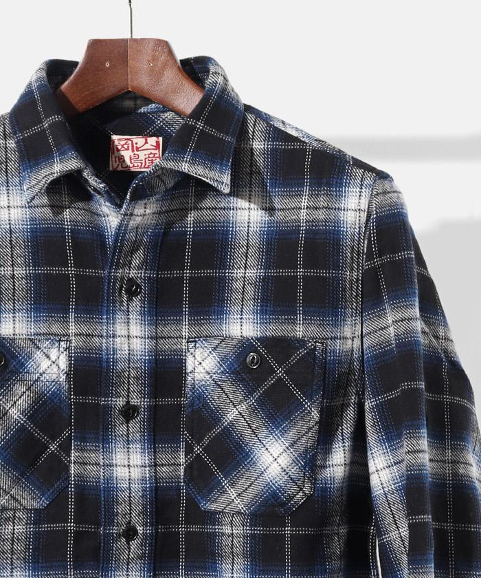 ブラッシュドチェックネルシャツ ブルー