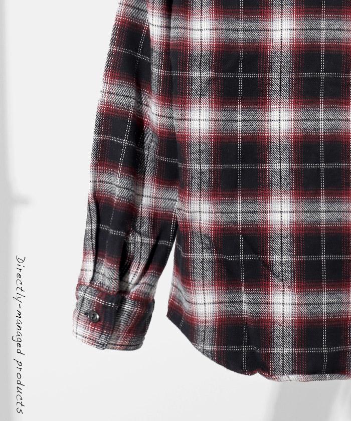 ブラッシュドチェックネルシャツ ワイン/ブラック