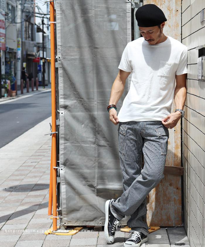 インディゴデニム/ヒッコリーカーゴパンツ