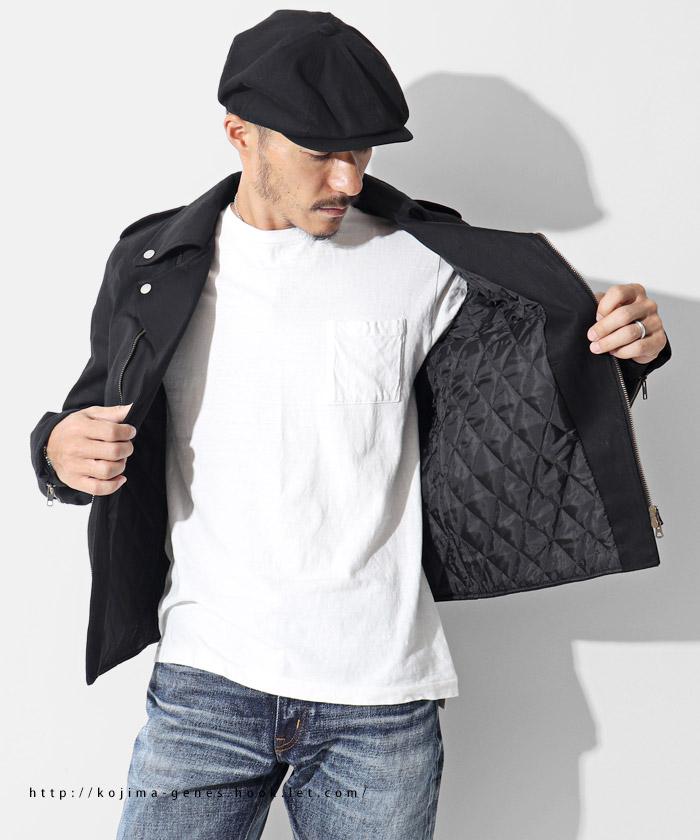 ブラックデニムダブルライダースジャケット