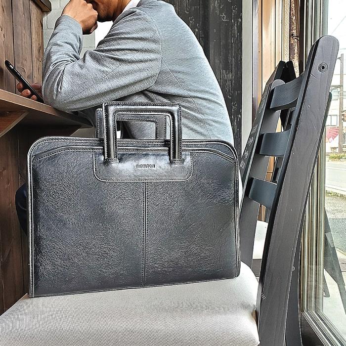 ビジネスバッグ ブリーフケース クラッチバッグ メンズ 薄マチ スマート 外回り 出張 黒 KBN23481 ハミルトン HAMILTON