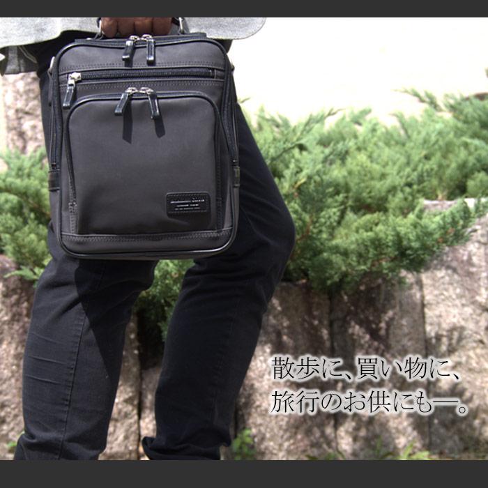 ショルダーバッグ 手提げ 豊岡製 日本製 国産 メンズ撥水 軽量 2WAY 帆布 縦 買い物 旅行 散策  黒 紺  KBN16451 ブレザークラブ BLAZER CLUB