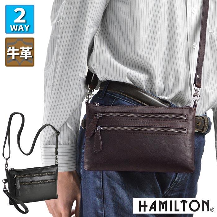 ショルダーバッグ セカンドポーチ 牛革 本革 レザー メンズ A5 横型 薄マチ 斜めがけ 黒 チョコ KBN16396 ハミルトン HAMILTON