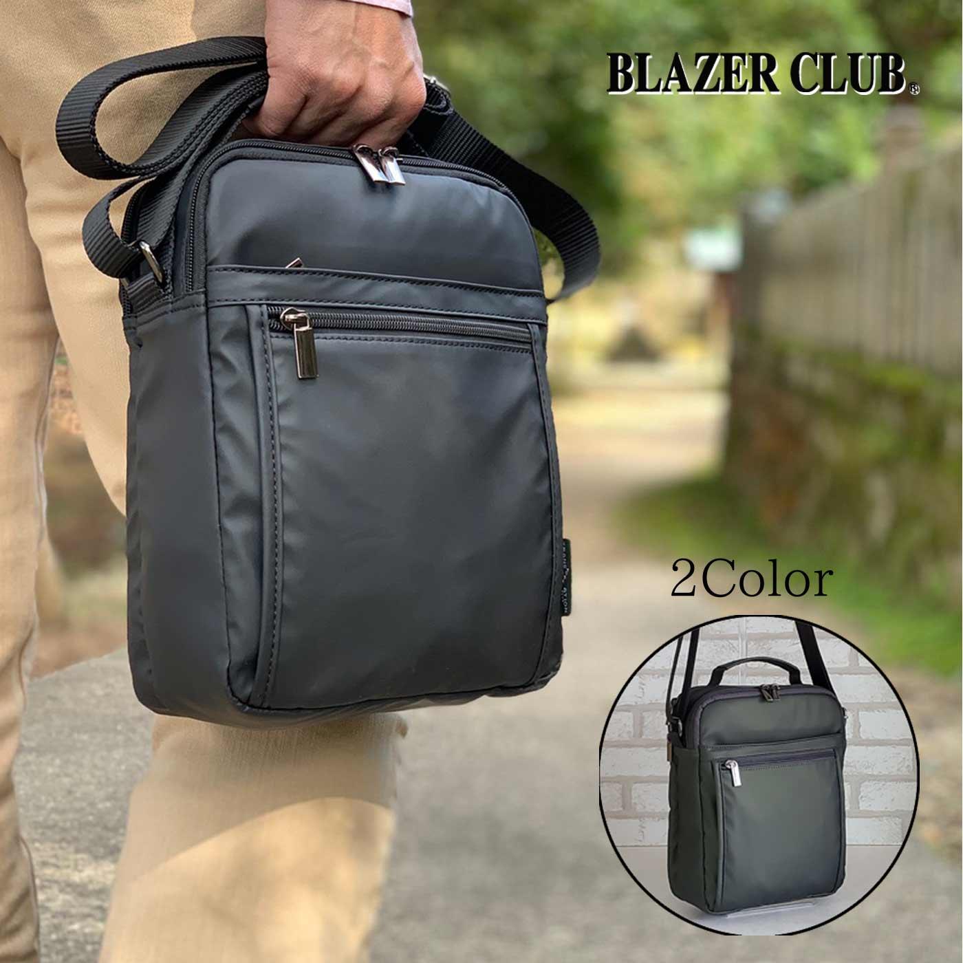 縦型ショルダーバッグ カジュアルバッグ メンズ B5 2室 軽い 斜めがけ ナイロン 街持ち 普段使い 旅行 レジャー 黒 カーキ KBN33754 ブレザークラブ BLAZER CLUB