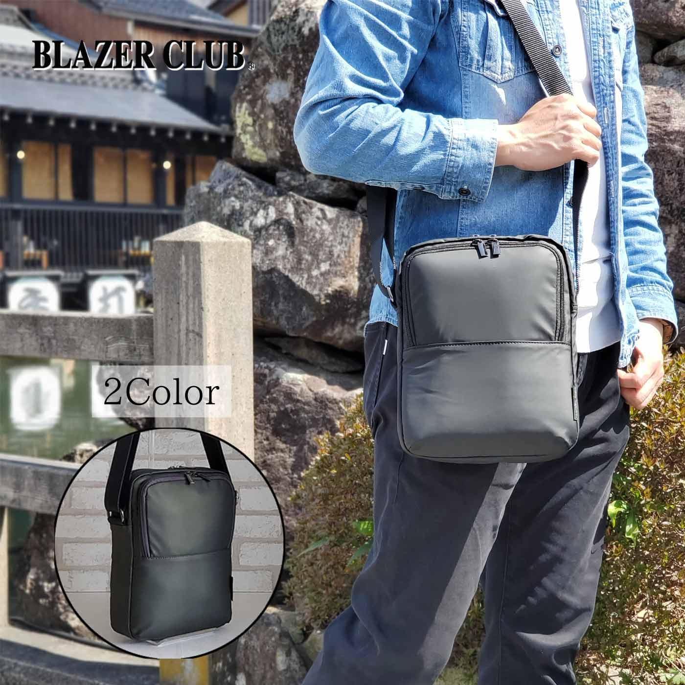 縦型ショルダーバッグ カジュアルバッグ メンズ B5 軽い 斜めがけ ナイロン 街持ち 普段使い 旅行 レジャー 黒 カーキ KBN33755 ブレザークラブ BLAZER CLUB