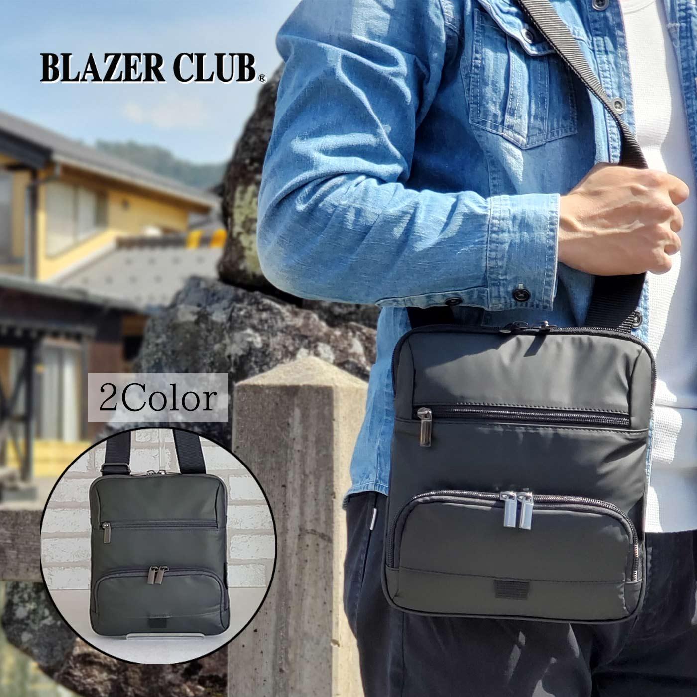 縦型ショルダーバッグ カジュアルバッグ メンズ A5 軽い 斜めがけ ナイロン 街持ち 普段使い 旅行 レジャー 黒 カーキ KBN33756 ブレザークラブ BLAZER CLUB