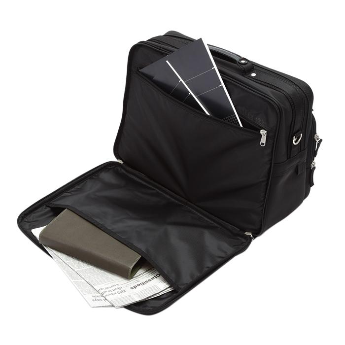 ショルダーバッグ ビジネスバッグ メンズ B4 軽量 2室 ツイルナイロン ショルダーベルト ポケット多数 通勤 出張黒 KBN33705 ハミルトン HAMILTON 送料無料