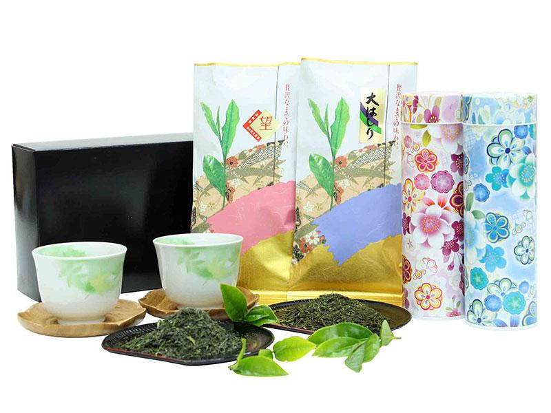 香り豊かな【大はしり茶100g】甘味が凝縮【望つゆひかり100g】オリジナル茶缶入 花おもい【い】セット