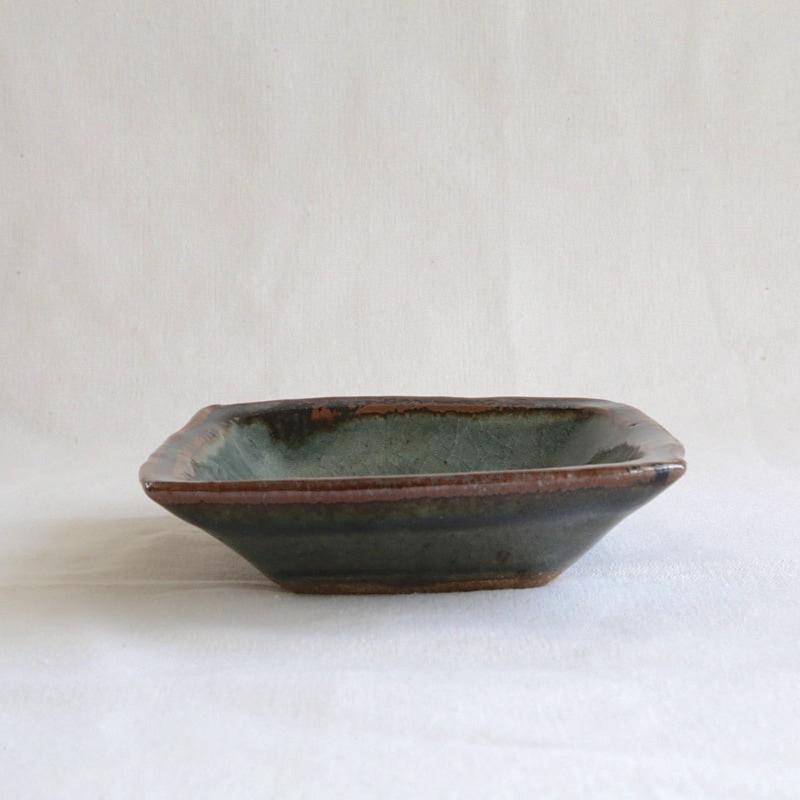 森山窯・瑠璃角皿(中)