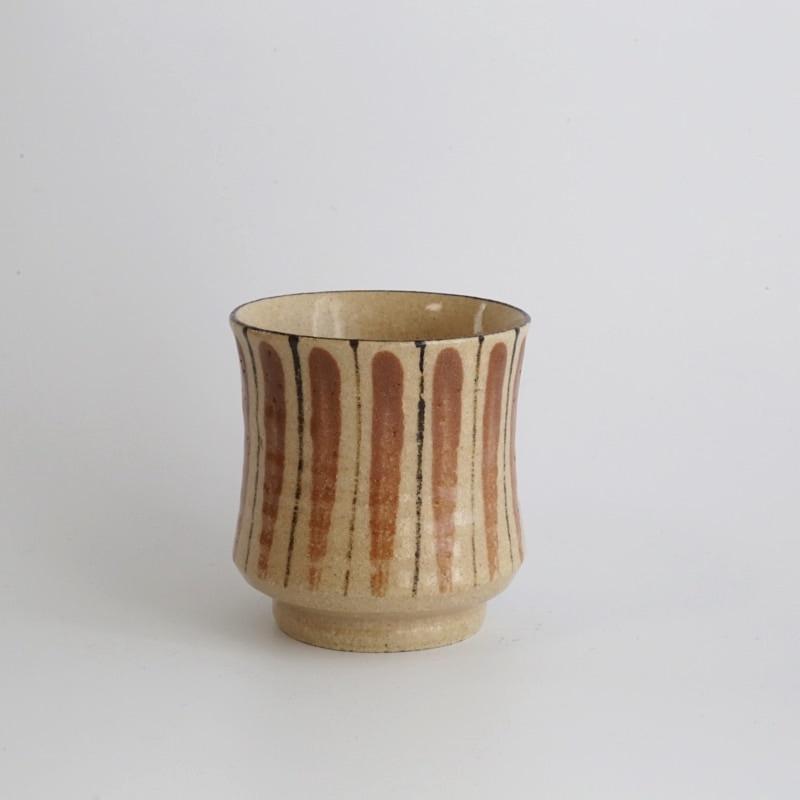 小春花製陶・麦藁手湯呑み(赤楽)