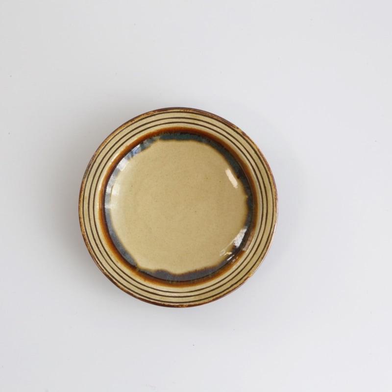 龍門司焼・三彩4寸縁付き皿