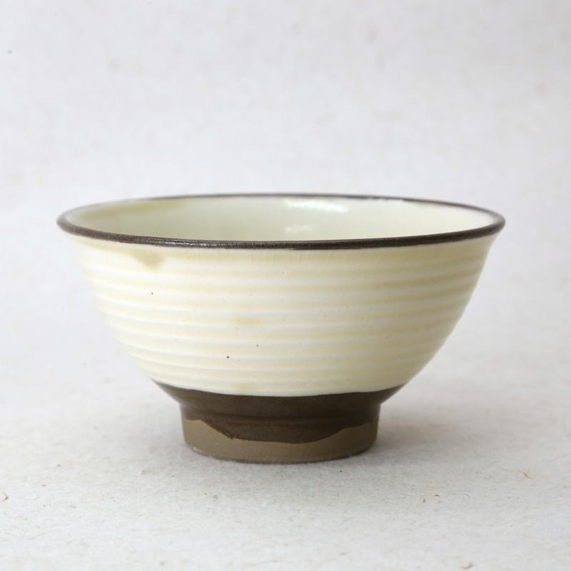 坂本浩二窯・千段巻き飯碗(3.5寸、白)
