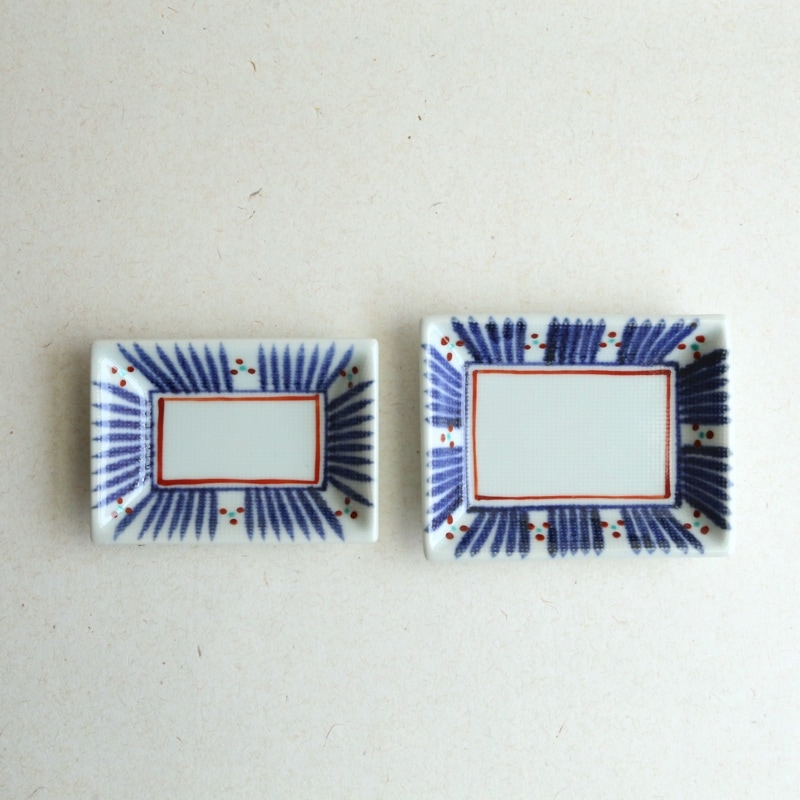 砥部焼・梅山窯 十草三ツ紋小角皿