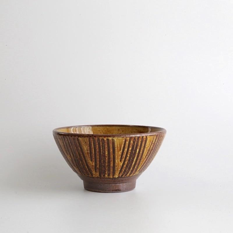 太田哲三窯・櫛描4.5寸飯碗(黄)