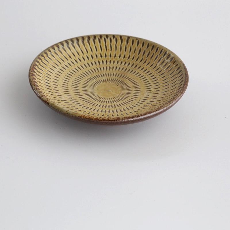 太田哲三窯・飛び鉋3.5寸皿(黄)