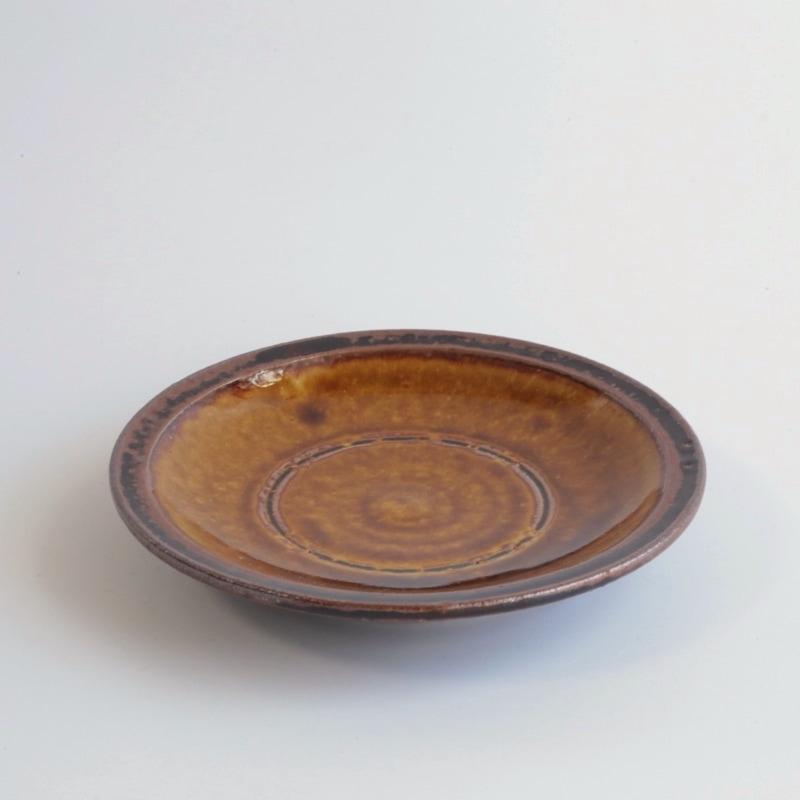 かじや窯・飴釉4寸皿
