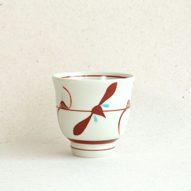 砥部焼・梅山窯 笹湯呑み(赤)