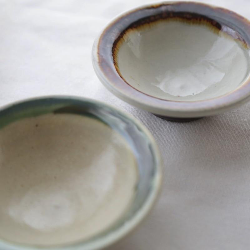 太田哲三窯・縁付3.5寸小鉢(緑)