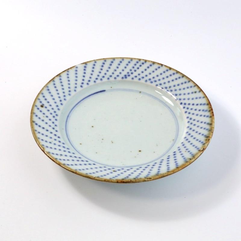 砥部焼・中田窯 点つなぎ7寸リム皿