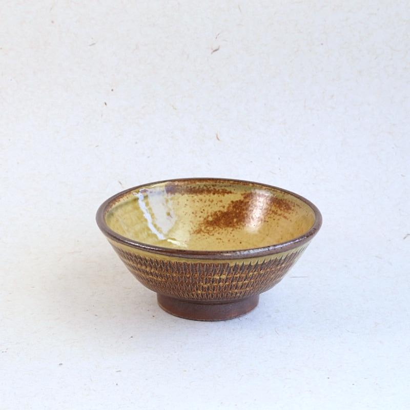 太田哲三窯・飛び鉋3.5寸浅鉢(黄)