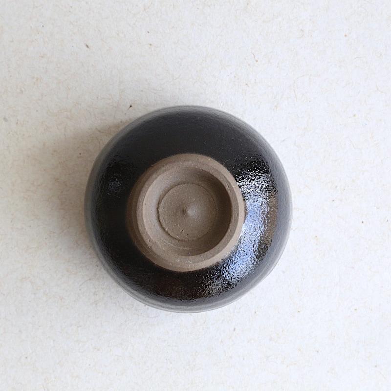 龍門司焼・黒釉番茶湯呑み