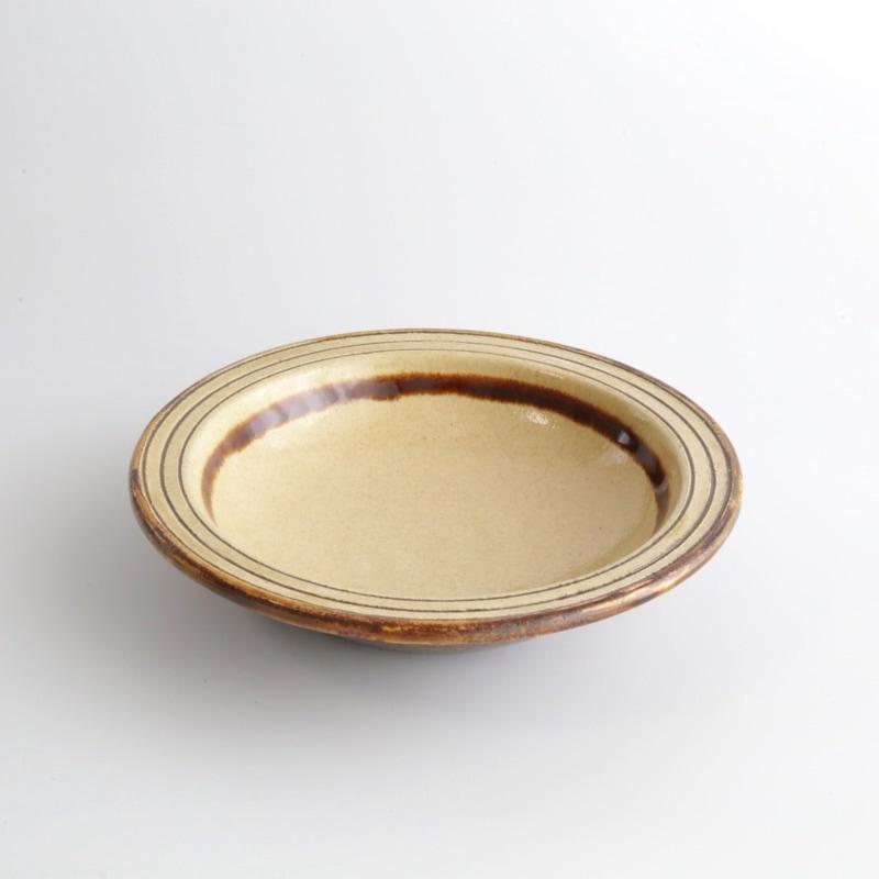 龍門司焼・線巻5寸皿