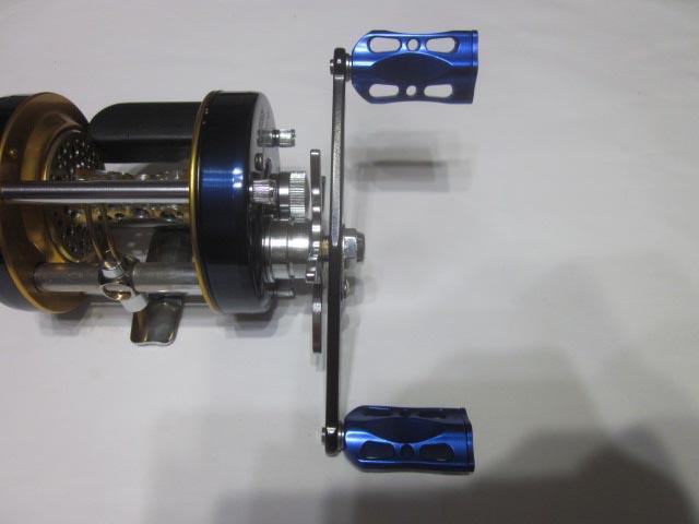 ストレート青メタル アブ ダイワ シマノ M7の場合:アダプタ必要 ハンドル ナット別売 雷魚 カゴ