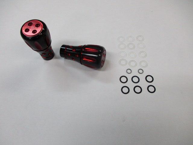 [2個][まだらノブ][赤レッド] パワーハンドルノブ 雷魚かごジギング ダイワ/シマノ向け 汎用4mmタイプ