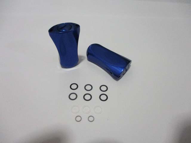 [2個][ツマミ][銀青] パワーハンドルノブ 雷魚かごジギング シマノ/ダイワ向け 汎用4mmタイプ