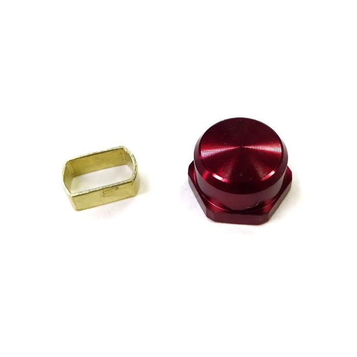 シマノ 7*4 ダイワ 8*5 チェンジ カラー アダプタ ナットセット ハード 真鍮-M7 アルミ 左 純正品 赤