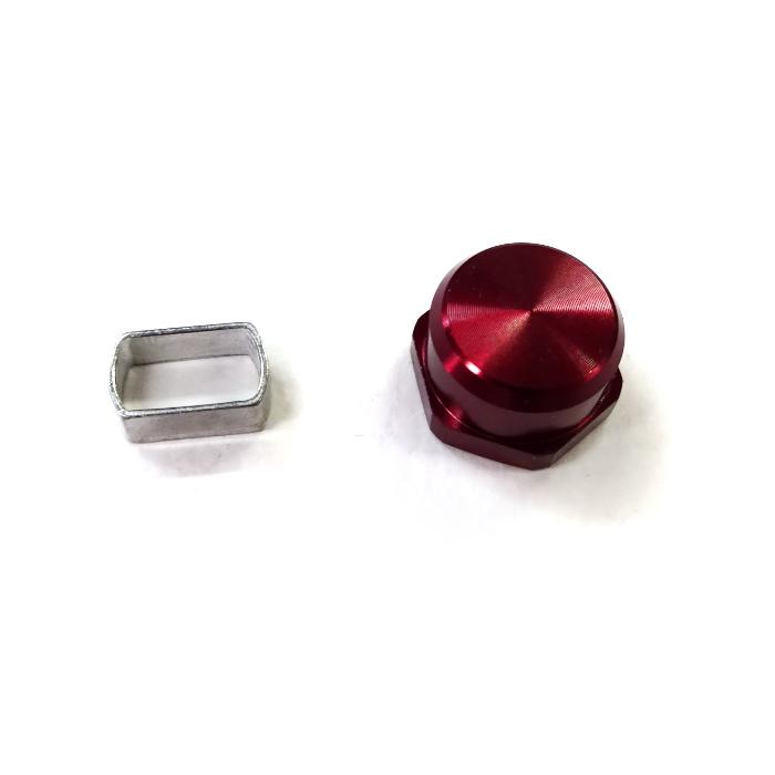 シマノ 7*4 ダイワ 8*5 チェンジ カラー アダプタ ナットセット ソフト 真鍮-M7 アルミ 左 純正品 赤
