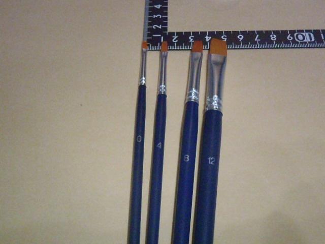 ナイロン平筆 4本セット ロッドビルディング エポキシコーティング 油絵の具 水彩 絵具