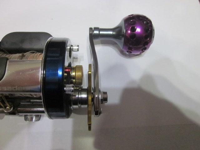 1穴 紫エルゴ アブ/ダイワ/シマノ M7の場合:アダプタ必要向け パワーハンドル ナット別売
